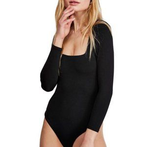 NWOT Free People Truth or Square Black Bodysuit XS